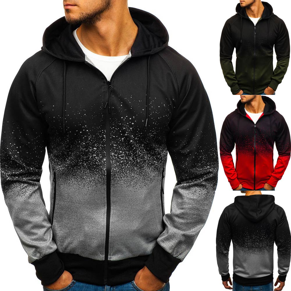 PADEGAO Brand 2019 European and American Autumn and Winter 3D Digital Printed Men 39 s Gradual Design Hooded cap Jacket in Jackets from Men 39 s Clothing