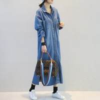 Free Shipping 2018 Fashion Denim Dresses Women Long Mid calf Plus Size S XL Single breasted Jeans Long Sleeve Spring Dresses