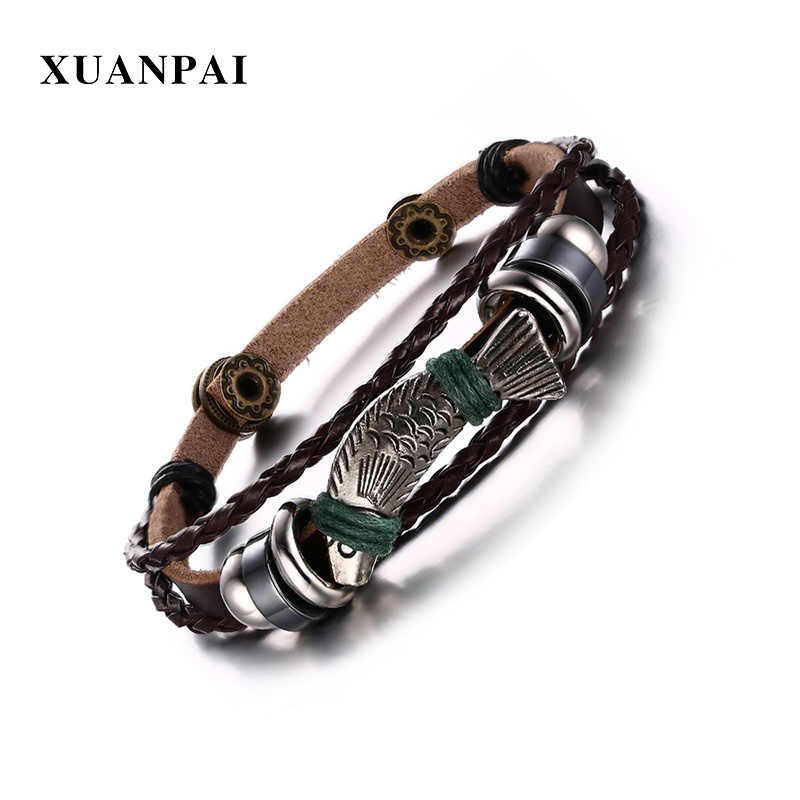 XUANPAI Fish Pattern Charm Leather Rope Bracelets for Men Vintage Male Bracelets Bangles Jewelry 8.8""