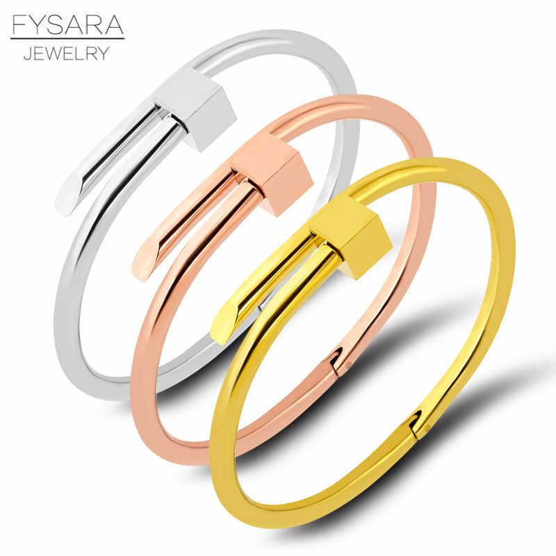 bde50023aba2 FYSARA cuadrado tornillo hexagonal uñas brazalete pulseras brazaletes para  las mujeres de Color oro