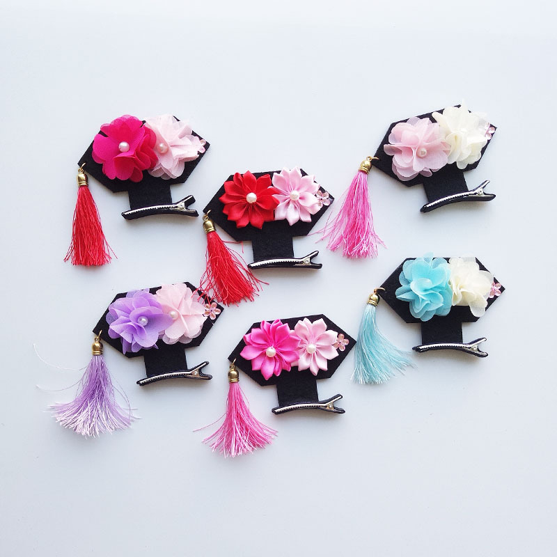 New Arrival Chinese Style Hair Clip New Strange Tassel Ancient Princess Headdress With Two Big Flowers Jewelry Headwear 6 Colors