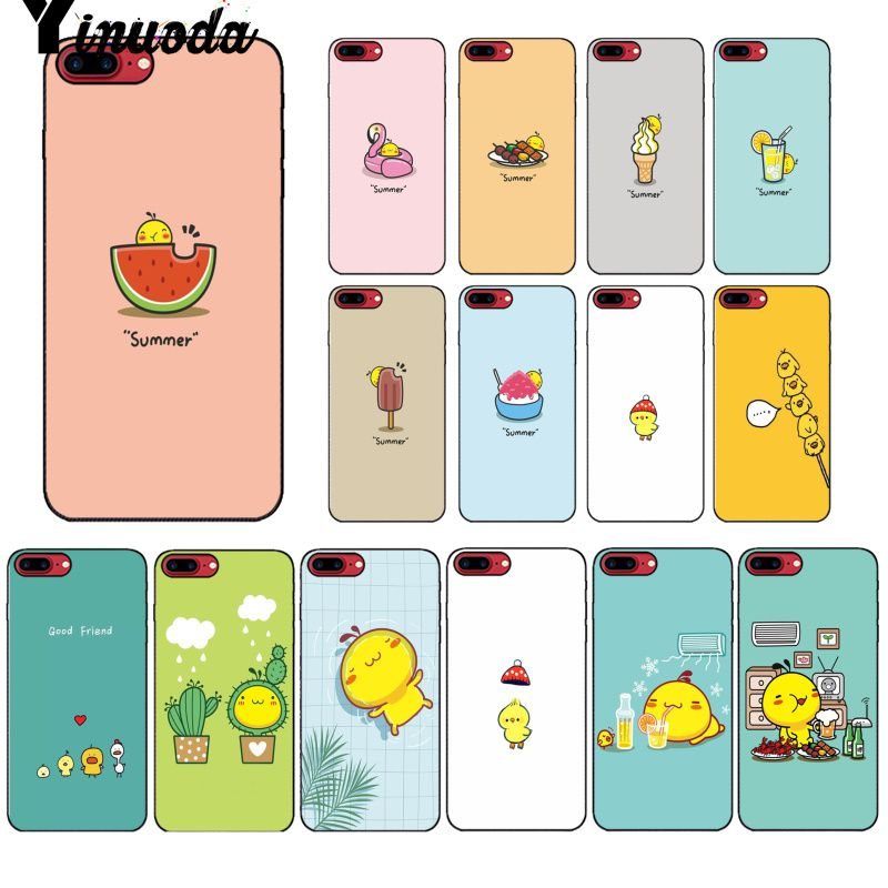 Yinuoda Summer color cute little yellow <font><b>chicken</b></font> Coque Shell Phone <font><b>Case</b></font> for <font><b>iPhone</b></font> 5 5Sx <font><b>6</b></font> 7 7plus 8 8Plus X XS MAX XR image