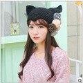 2016 Cute Hair Balls Winter Warm Hat Women Black Wool Hat Novelty horns Orecchiette Nagymaros Head Knitting Cap Sleeve