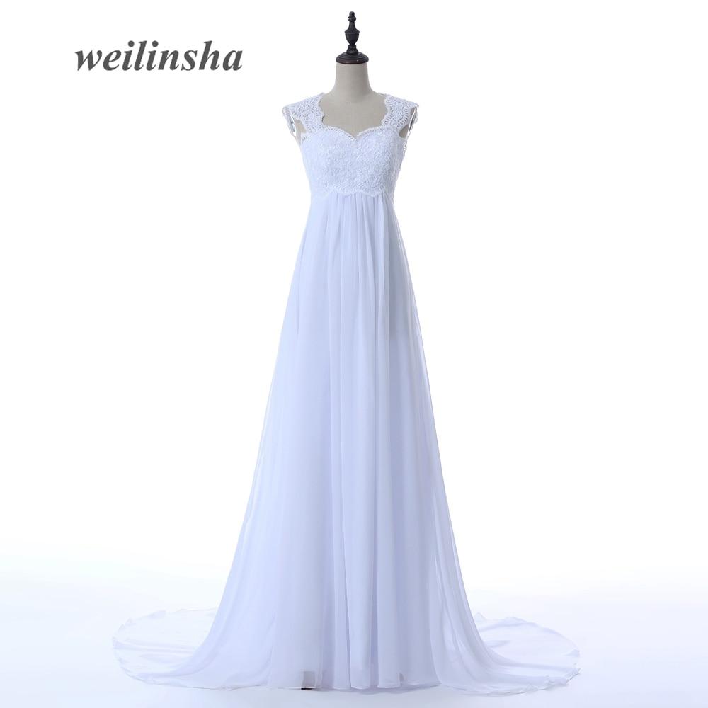 weilinsha Empire Chiffon Beach Wedding Dresses Style Lace-up Bohemian Pregnant Bridal Gown Bride Dress 2017 Vestido De Noiva