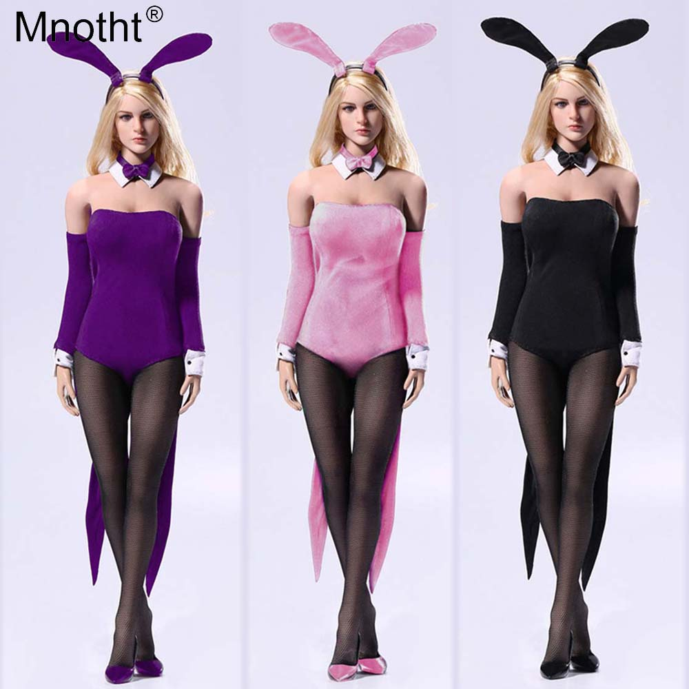 1 6 F25 Sexy Waitress Bunny Girl suit Four colour Swallowtail Bunny Girl Clothes Suit With