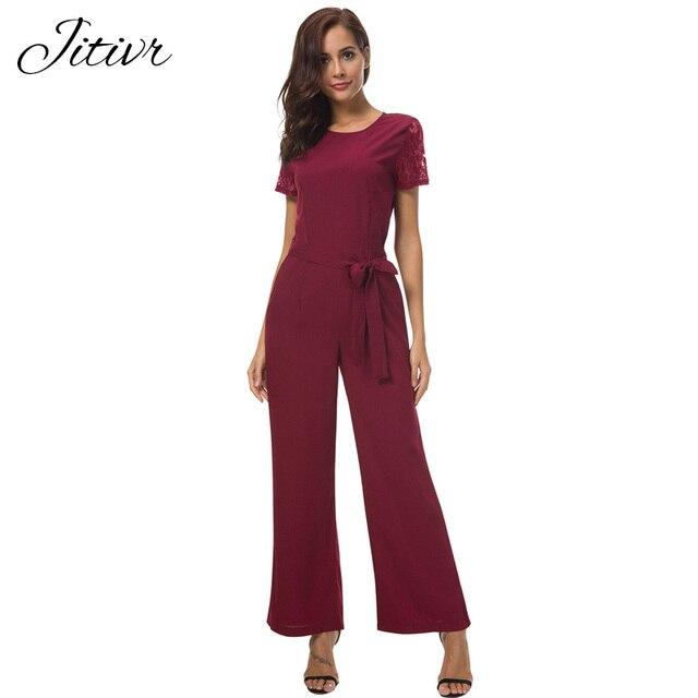 Jitivr Elegant Lace Jumpsuits Black Long Plus Size Rompers Womens