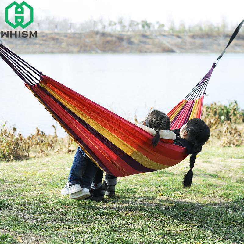 купить WHISM Portable Outdoor Hammock Canvas Camping Hammocks Garden Picnic Mat Hanging Sleeping Bed Single Double Person Swing Chair недорого