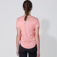 summer mesh workout sports t shirt women beauty back thin breathable yoga tops quick dry running short sleeved fitness Gym shirt