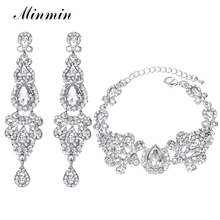 hot deal buy elegant fish shapes drop earrings with lovely bracelet glass crystal bridal jewelry sets for women wedding jewelry eh162+sl037