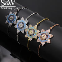 Look!2017 Individualism Turkish Jewelry sunflower Lucky Seven pointed Star Concentric circ Pave Femmel bracelet Chain adjustable