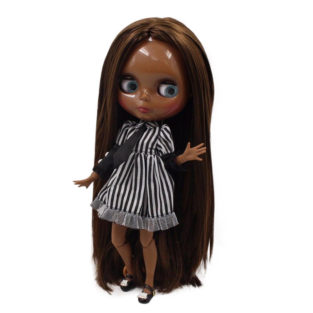 fortune days factory blyth doll super black skin tone darkest skin dark brown hair joint body 1/6 30cm BL0521 fortune days factory blyth doll super black skin tone darkest skin dark brown hair joint body 1 6 30cm bl0521