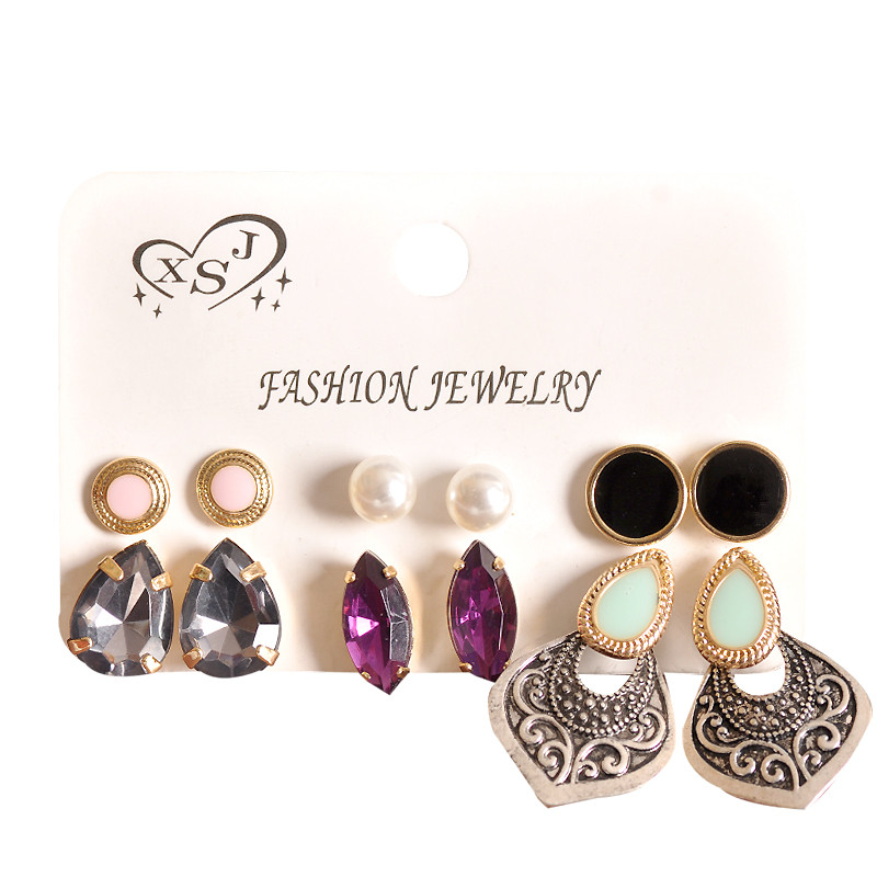 2018 New Fashion Women's Jewelry Wholesale Girls Birthday Party Pearl Earrings Black Purple Mixed Suit 6 Pairs /set Earrings