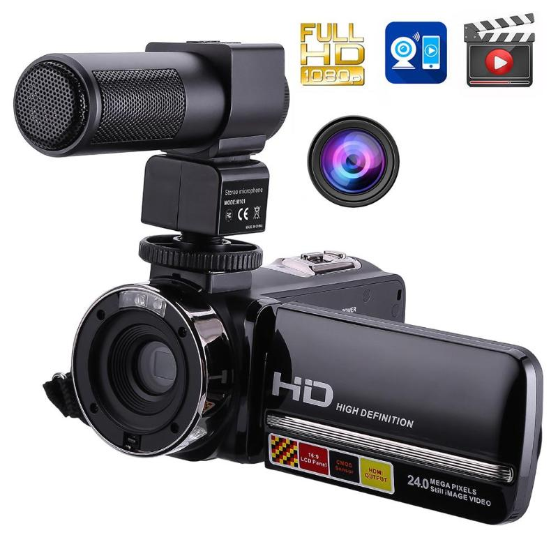 1080P Full HD Camcorder Remote Control Infrared Night Vision Camera 24MP 16X Digital Zoom Video Camera w/ Microphone Touchscreen1080P Full HD Camcorder Remote Control Infrared Night Vision Camera 24MP 16X Digital Zoom Video Camera w/ Microphone Touchscreen