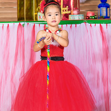 2016 Высокое качество Горячей Детские Платья Красный Цветок 2-14Year Балета Пузырь Драпированные Бальное платье Вечернее Платье Детский Праздник