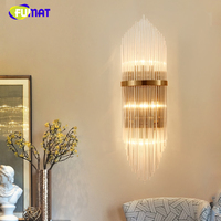 FUMAT Modern Brief Crystal Wall Lamp American Designer Artistic Wall Lamp Sconces Fashion LED Crystal Wall Light For Living Room