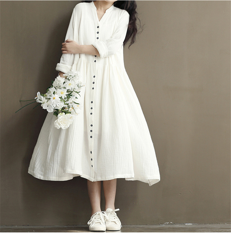 Cotton Linen White Color Women Dress 2017 Spring New  Long Sleeve Stand Neck Loose Plus Size Bat Sleeve Irregular Dress