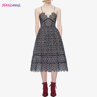 HANZANGL 2018 SP Hollow Black white Patchwork color Hook flower Sexy Sling Dress Spaghetti Strap Lace Mid Calf Dresses