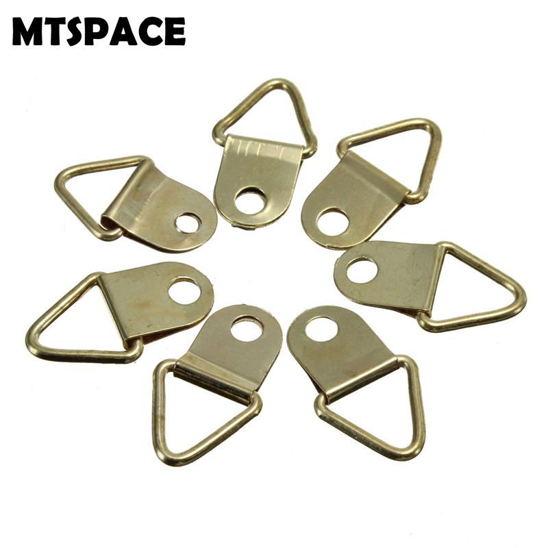 MTSPACE 50pcs Set Universal Strong Golden D Rings Decor Picture Frames Hanger Hooks Hanging Triangle Screws