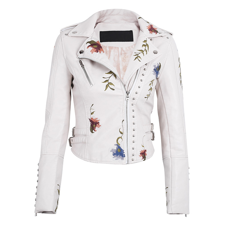 2019 Turn-down Collar Short Black Punk Biker Outerwear Women Faux   Leather   Jacket Floral Print Embroidery Pu Motorcycle Coat