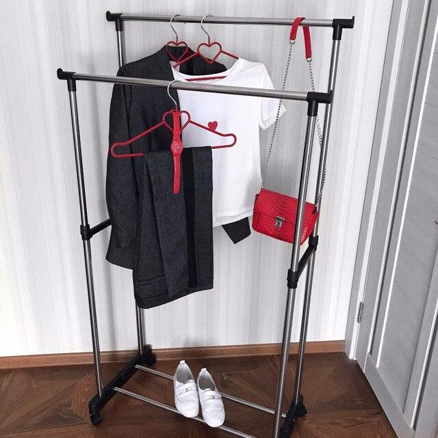 Напольная Стойка Двойная для одежды Хит продаж Удобная для хранения вещей