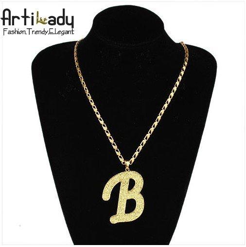 Artilady 18kGP character letter B chains necklaces man chains necklaces jewelry