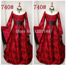 Free Shipping 2013 European retro Halloween costume real shot luxurious palace princess dress gown prom queen dress(China)