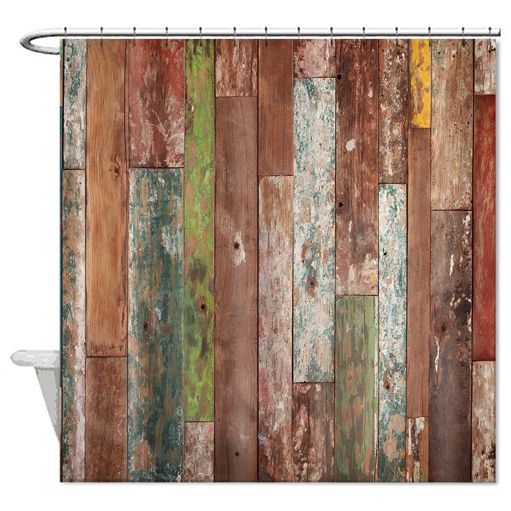 retro vintage porta di legno tenda della doccia bagno muffa impermeabile poliestere tende home decor cortina vasca da bagno vend