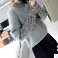 2017 New Fashion Women Sweater Long Sleeve Stretched Solid Sweater Tops Thicken Warm Knitting Sweaters