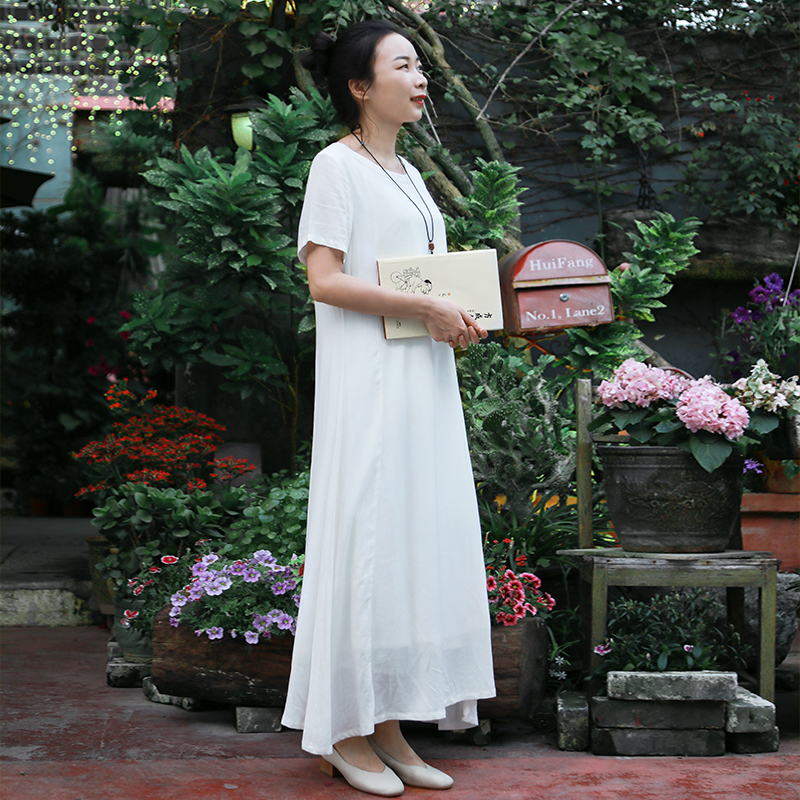 LZJN Robe orientale à manches longues Cheongsam Qipao 2019 été automne Floral papillon imprimé Robe traditionnelle chinoise femmes Robe - 3