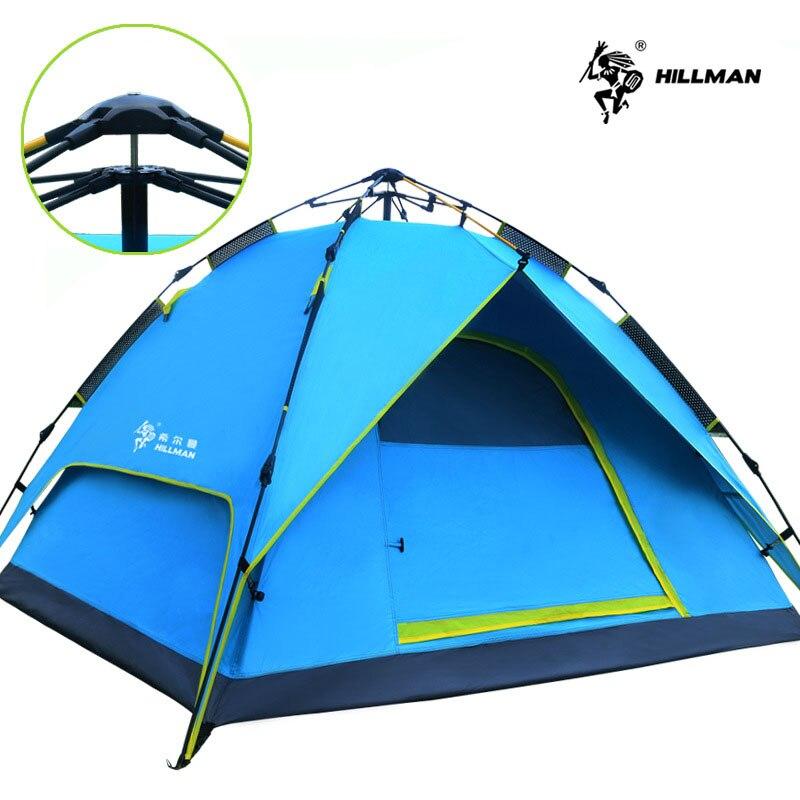 Hillman tente automatique équipement de Camping en plein air 3-4 personnes Double couche parc loisirs Camping tente