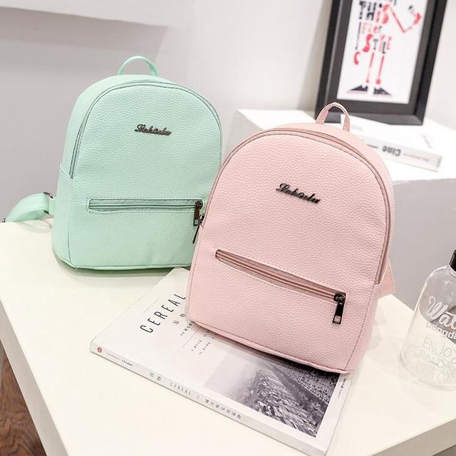 New Fashion Women Backpack Korea High quality PU leather Candy Color  College Shoulder Bag Sweet girl d00365e2bb7ee