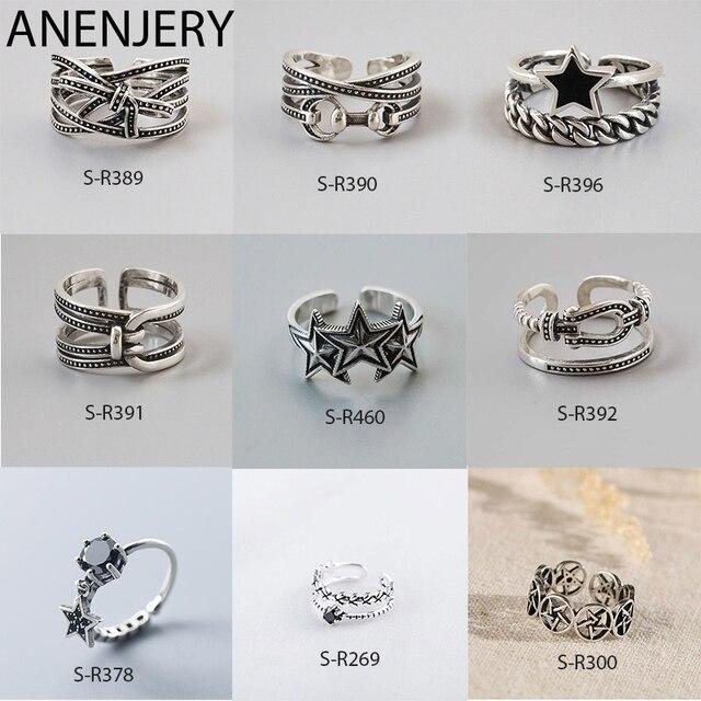 ANENJERY Vintage pierścionki dla kobiet mężczyzn rozmiar 16mm-18mm regulowane ręcznie 925 Sterling Thai srebrne pierścionki S-R460