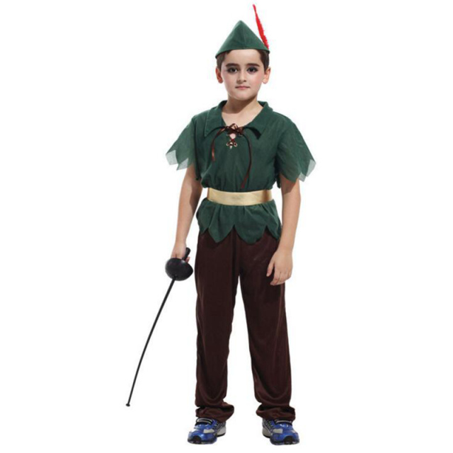 Newest Flying Kids Peter Pan Costume Cosplay Children Halloween Performance Clothes Green T-Shirt+Brown Trousers+Hat Golden Belt