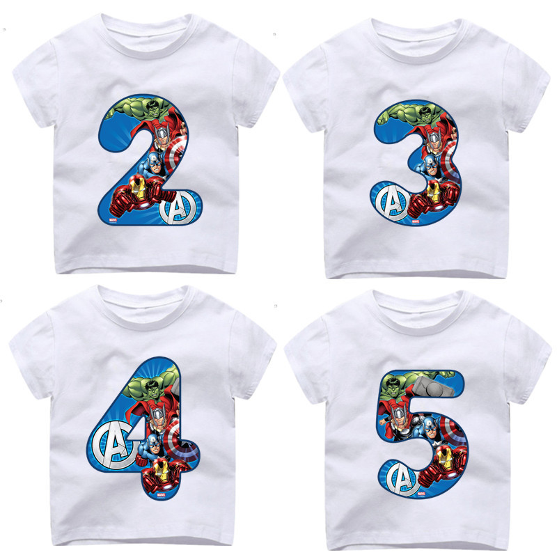 2-9 Year Old,Boy Happy Birthday Avengers Number 1~9th T-shirts Kid Superhero Tshirt Baby Spiderman Number Toddler Top Tee