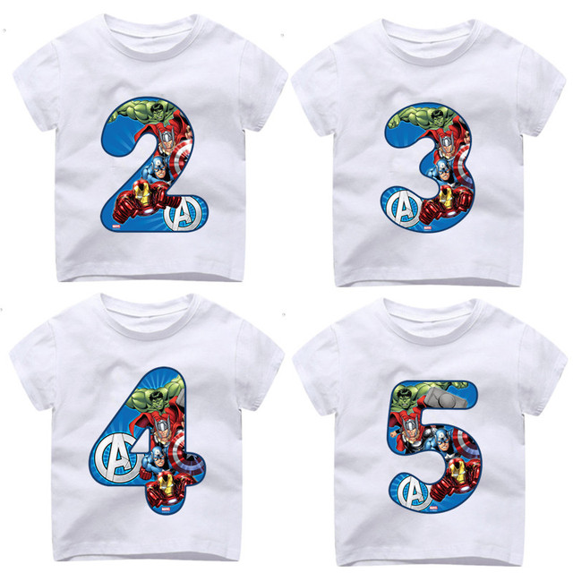 2 9 Year OldBoy Happy Birthday Avengers Number 19th T Shirts Kid Superhero Tshirt Baby Spiderman Toddler Top Tee