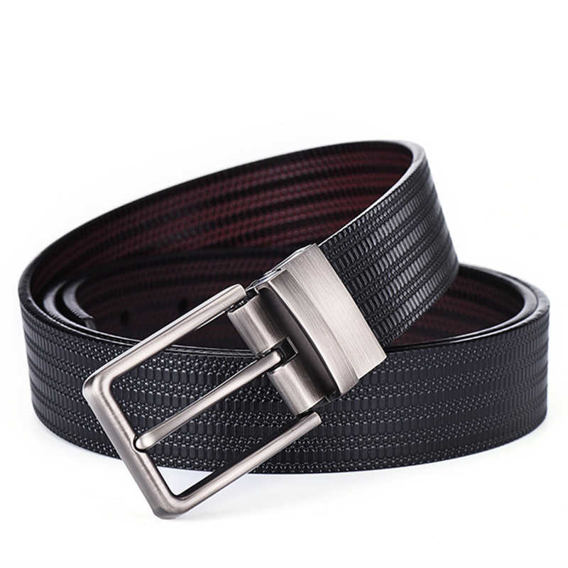 Reversible Belts For Men Double-sided Use Genuine Leather Pin Buckle Belt Mens Real Leather Belts For Jeans Black Blue G120