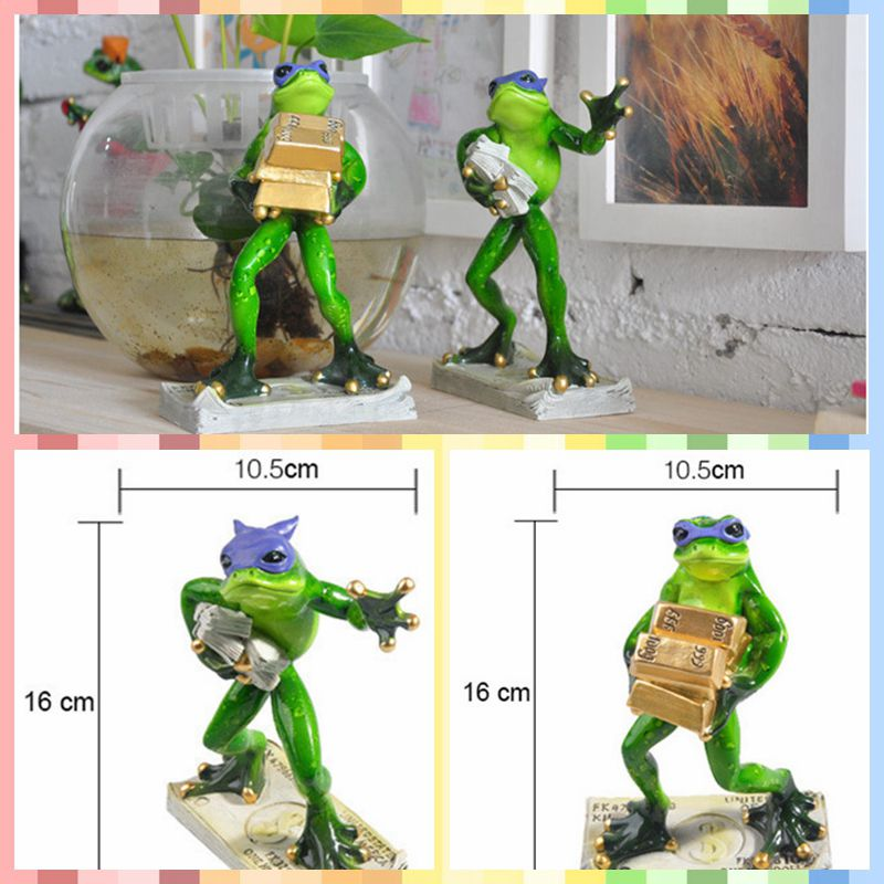 Free shipping Funny Frog Family Figures Resin toy Thief Burglar Style cake home office desk car decoration party supply gifts