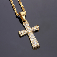 High Quality Plated 18K Gold BIG Cross Men S Hip Hop Necklace Blingbling Men S Lady
