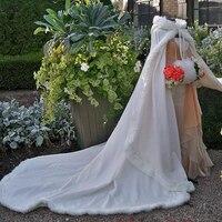 Bridal Winter Wedding Cloak Cape Faux Fur Dài Train Bridal Kết Thúc Tốt Đẹp Khoác Trùm Đầu Mùa Đông Áo Bolero Phụ Kiện