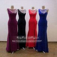 Purple/Black/Red/Royal Blue Long Elegant Prom Dresses 2017 Boat Neck Beaded Long Mermaid Prom Dresses Slit