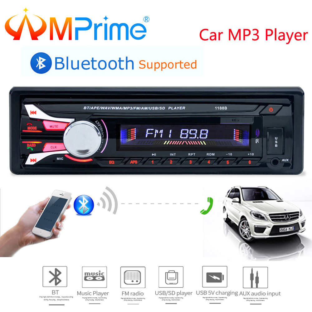 AMprime autoradio 12 V Auto Radio Bluetooth 1 din autoradio Player Telefon AUX-IN/FM/USB/radio fernbedienung Für telefon Auto Audio