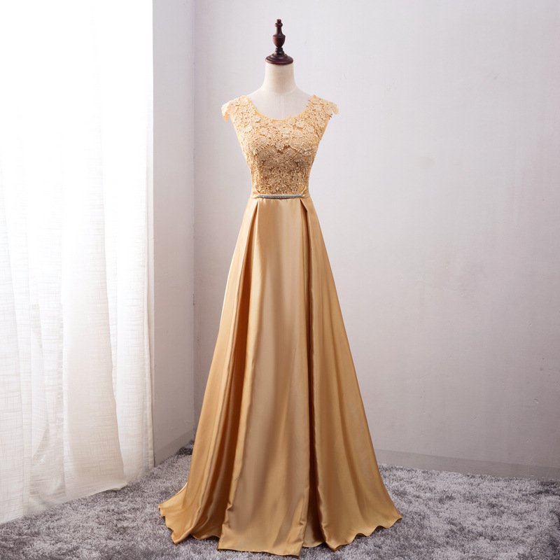 Beauty Emily Golden Bridesmaid Dresses 2019 Lace Beads A-line Floor Length Formal Party Prom Dresses Reflective Dress