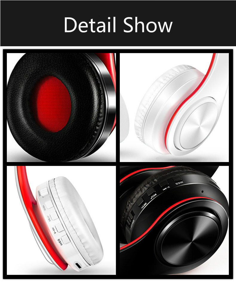 Foto of detail show Wireless foldable headphones with mic. Foldable wireless earphones for mp3
