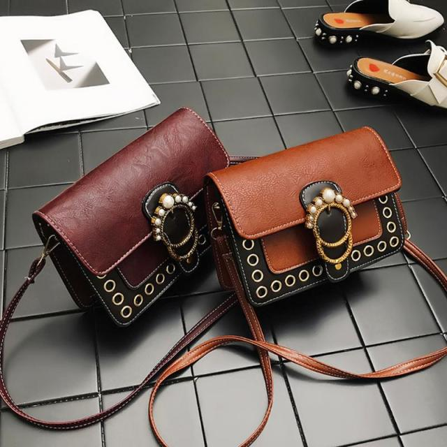 PU Leather Vintage Pearl Women Handbags Retro Sling Shoulder Bag for Girls Casual Female Crossbody Bag 1