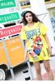 Melinda estilo 2017 de las nuevas mujeres del verano camiseta de manga corta patrón de cartón moda top envío gratis