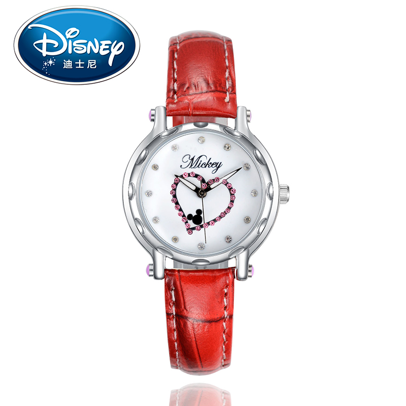 Disney Kids Watch Children Watch Mickey Mouse Casual Fashion Cute Quartz Wristwatches GirlsLeather Water Resistant
