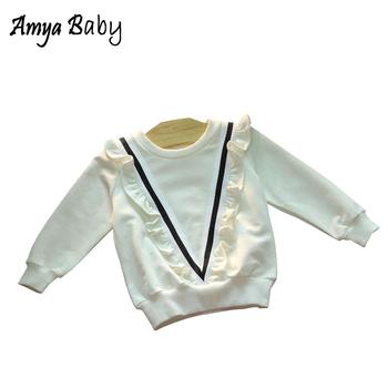 Amyababy dziewczynek Tshirt z długim rękawem dziewczyny topy wiosna jesień białe bawełniane koszulki dla dzieci maluch dziewczyna topy koszulki dziewczyna ubrania tanie i dobre opinie Tees AB451 O-neck Pełna W paski Moda COTTON Amya Baby Pasuje prawda na wymiar weź swój normalny rozmiar REGULAR white