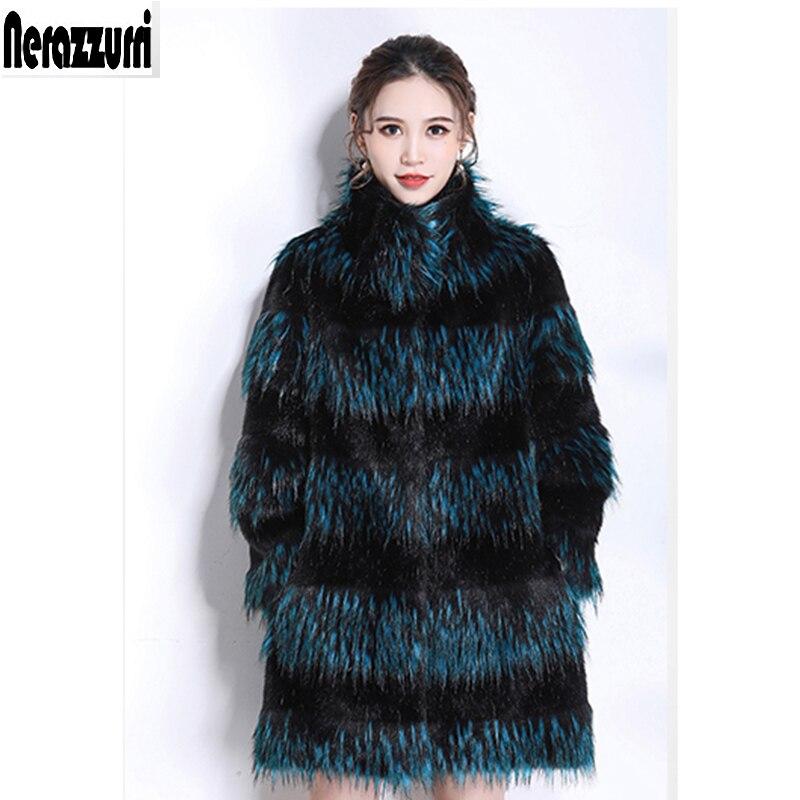 Нераззурри лисий мех пальто для женщин Градиент утолщаются теплый зимний пушистый искусственный мех куртка размера плюс красочная женская одежда 5xl 6xl 7xl