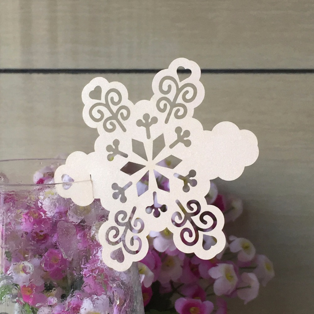 50pcs snowflake design Table Mark Wine Glass Name Place Card Birthday Christmas Wedding Event Party Bar Decorations Party Gift image