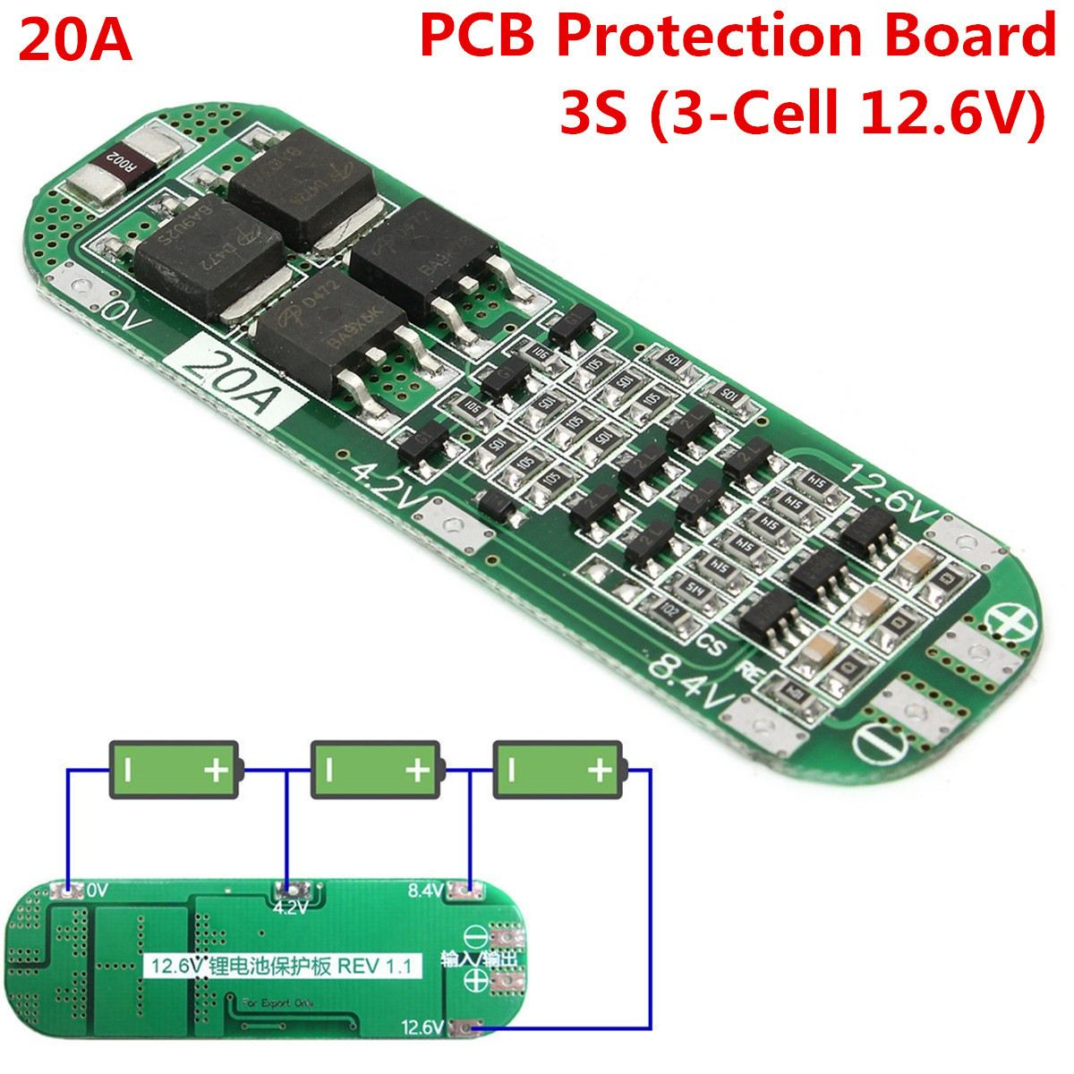 5PCS <font><b>3S</b></font> 20A Li-ion Lithium Battery 18650 Charger 12.6V Cell 64x20x3.4mm Module PCB BMS Protection <font><b>Boards</b></font> Modules image